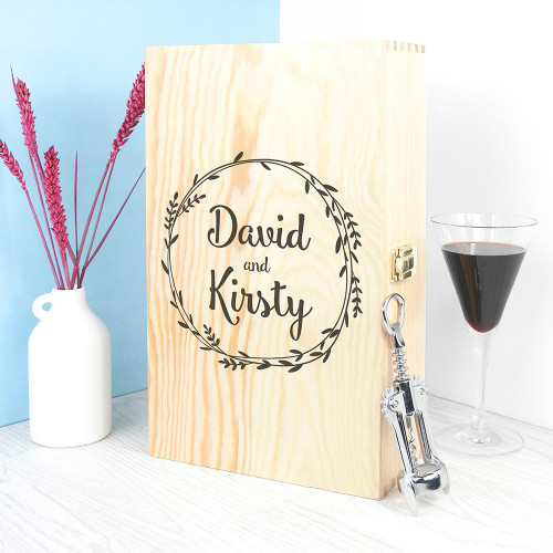 Personalised Romantic Wreath Double Wine Box From Something Personal