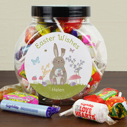 Personalised Easter Meadow Bunny Sweets Jar From Something Personal
