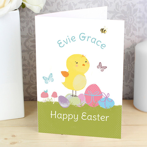 Personalised Meadow Easter Chick Card From Something Personal