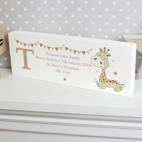 Personalised Hessian Giraffe Mantel Block From Something Personal