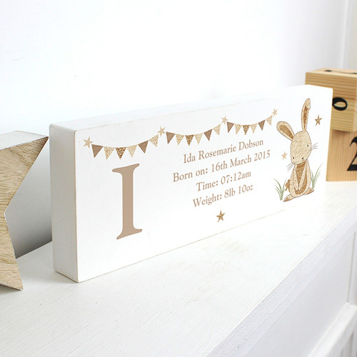 Personalised Hessian Rabbit Mantel Block From Something Personal