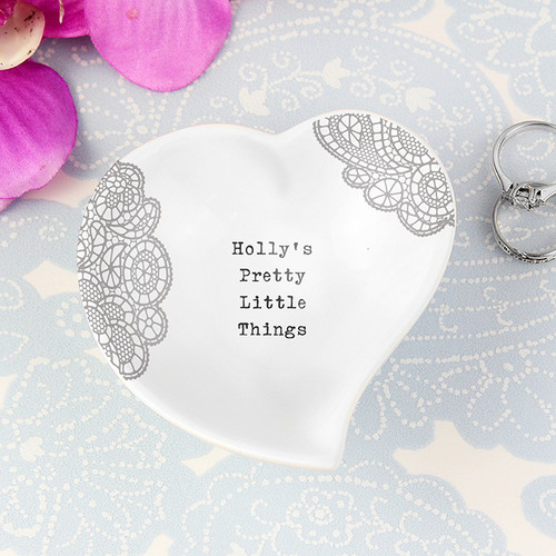 Personalised Dainty Lace Ceramic Ring Dish From Something Personal