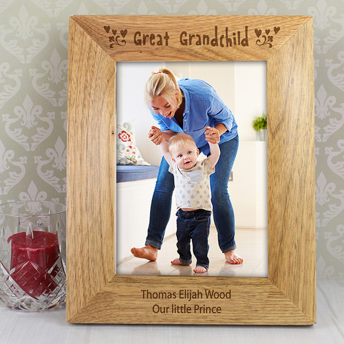 Personalised Great Grandchild Wooden Photo Frame From Something Personal
