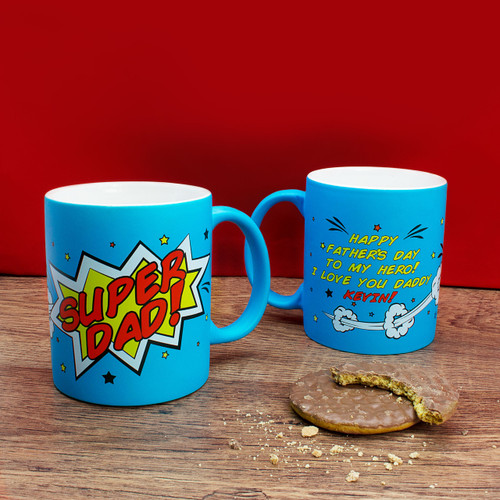 Personalised Superdad! Matt Blue Mug From Something Personal