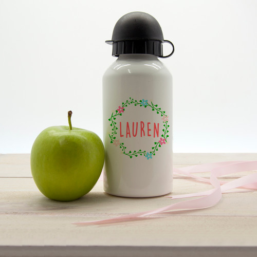 Personalised Kids Wreath Water Bottle From Something Personal