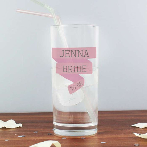 Personalised Pink Banner Hi Ball Glass From Something Personal