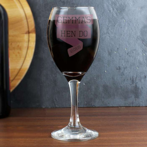 Personalised Pink Banner Wine Glass From Something Personal