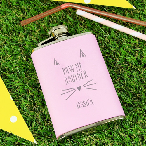 Personalised Paw Me Another Pink Hipflask From Something Personal