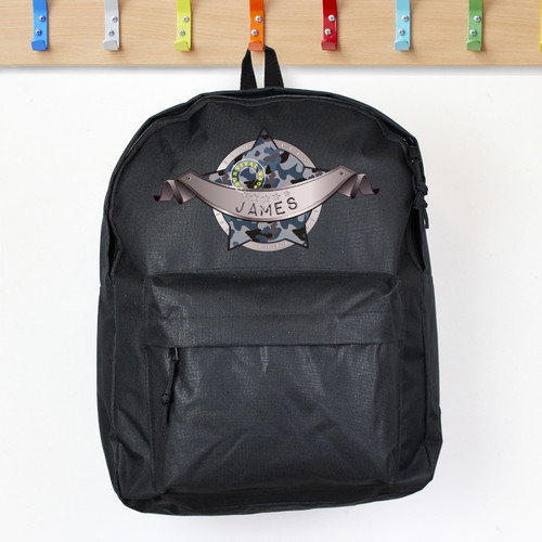 Personalised Army Camo Black Backpack From Something Personal