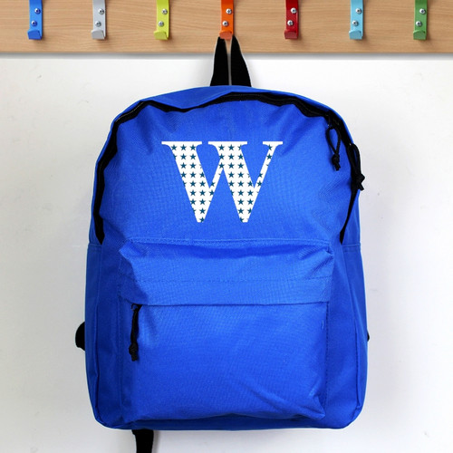 Personalised Star Initial Blue Backpack From Something Personal