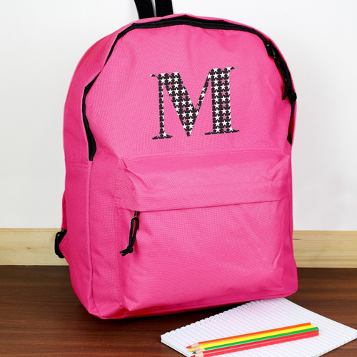 Personalised Star Initial Pink Backpack From Something Personal
