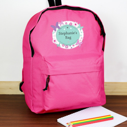 Personalised Butterfly Pink Backpack From Something Personal
