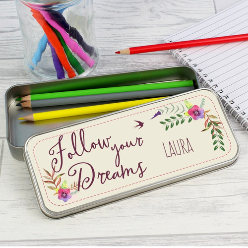 Personalised Dreams Pencil Tin with Pencils From Something Personal