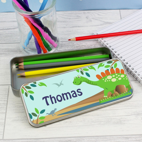 Personalised Dinosaur Pencil Tin with Pencils From Something Personal