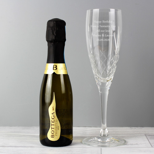 Personalised Crystal & Miniature Prosecco Set From Something Personal