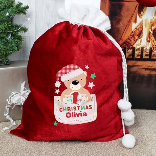 Personalised Pocket Teddy My 1st Christmas Pom Pom Sack From Something Personal