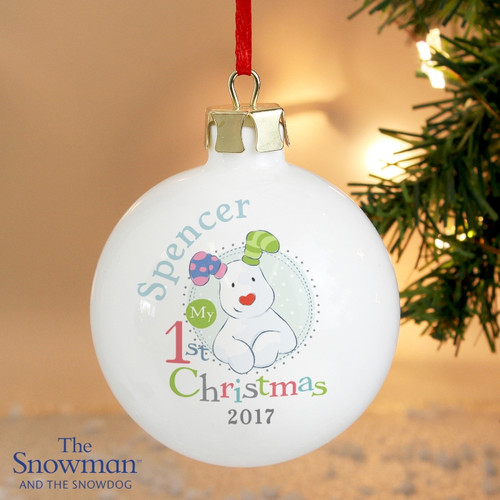 Personalised The Snowman & The Snowdog My 1st Christmas Bauble From Something Personal