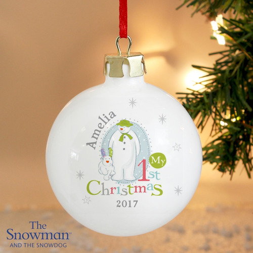 Personalised The Snowman & The Snowdog 1st Christmas Bauble From Something Personal