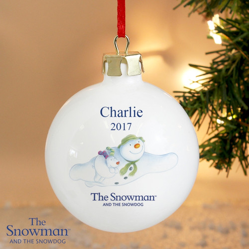 Personalised The Snowman & The Snowdog Flying Bauble From Something Personal