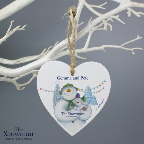 Personalised The Snowman & The Snowdog Heart Decoration From Something Personal