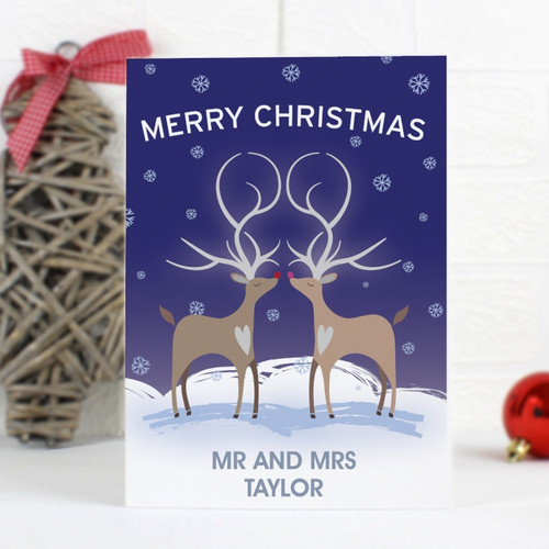 Personalised Reindeer Couple Card From Something Personal