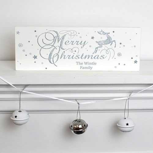 Personalised Silver Reindeer Mantel Block From Something Personal