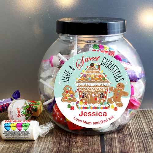 Personalised Gingerbread House Sweet Jar From Something Personal