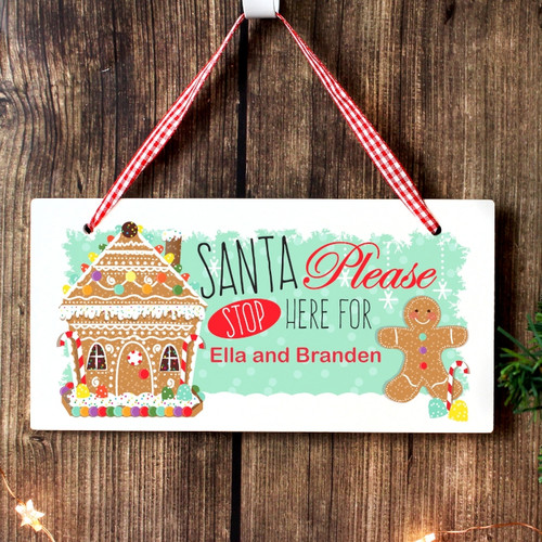 Personalised Gingerbread House Santa Stop Here Wooden Sign From Something Personal