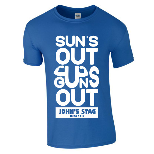 Personalised Suns Out Guns Out Stag T Shirt From Something Personal