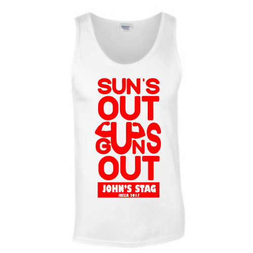 Personalised Suns Out Guns Out Stag Vest From Something Personal