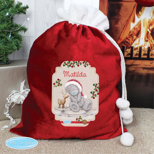 Personalised Me To You Reindeer Luxury Pom Pom Sack From Something Personal