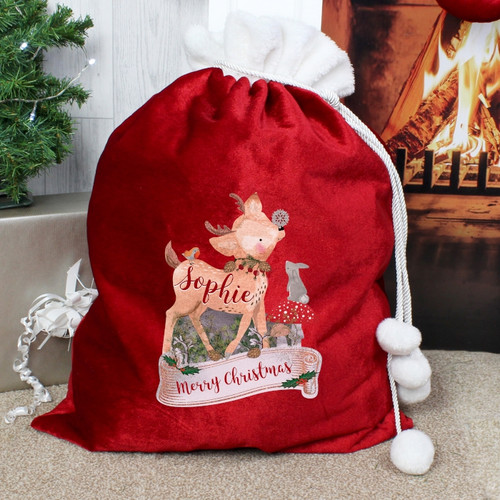 Personalised Festive Fawn Luxury Pom Pom Sack From Something Personal