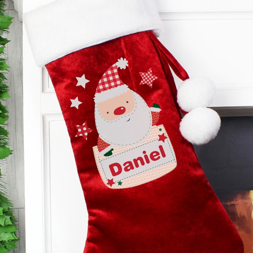 Personalised Pocket Santa Luxury Stocking From Something Personal