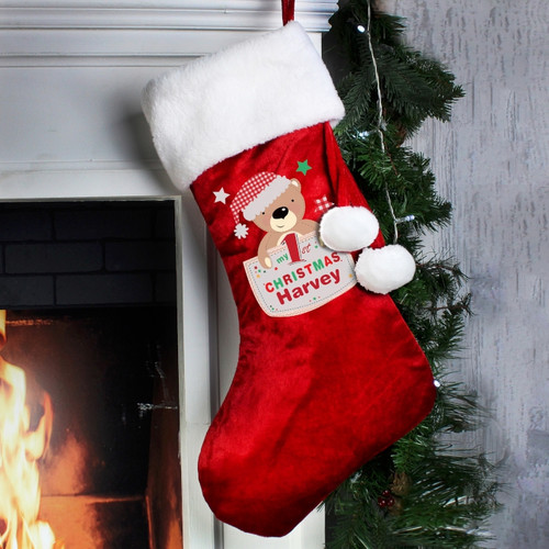 Personalised Pocket Teddy My 1st Christmas Luxury Stocking From Something Personal