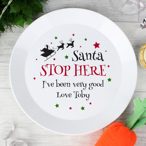 Personalised Santa Stop Here Plastic Plate From Something Personal