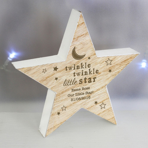 Personalised Twinkle Twinkle Rustic Wooden Star Decoration From Something Personal