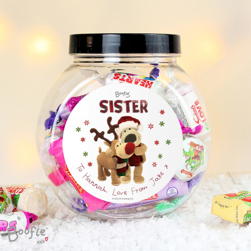 Personalised Boofle Christmas Reindeer Sweet Jar From Something Personal