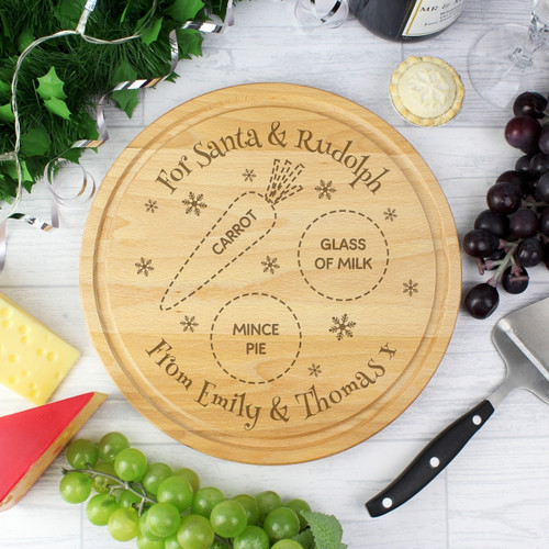Personalised Christmas Eve Round Treats Board From Something Personal
