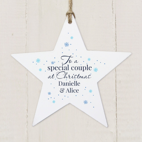 Personalised Special Couple Wooden Star Decoration From Something Personal