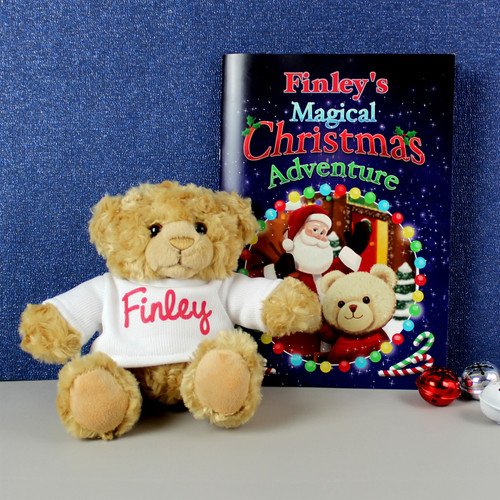 Personalised Magical Christmas Adventure Story Book & Personalised Bear From Something Personal