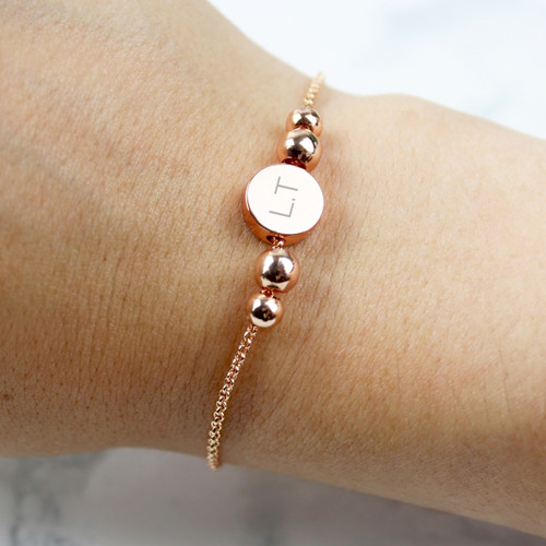 Personalised Rose Gold Plated Initials Disc Bracelet From Something Personal