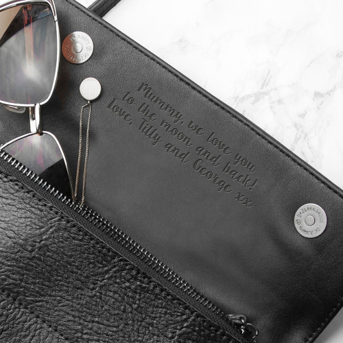 Personalised Black Leather Clutch Bag From Something Personal