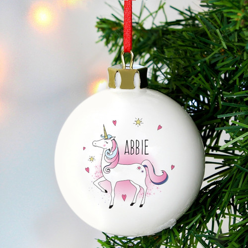 Personalised Unicorn Bauble From Something Personal