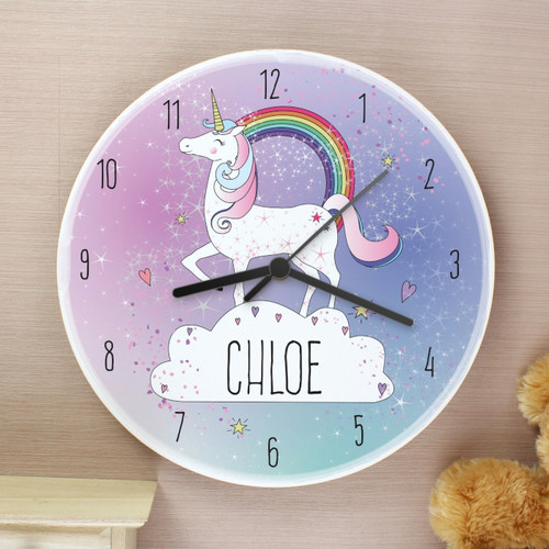 Personalised Unicorn Wooden Clock From Something Personal