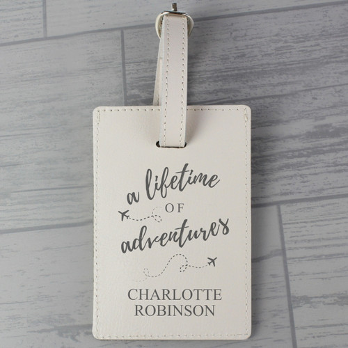 Personalised Lifetime Of Adventures Cream Luggage Tag From Something Personal