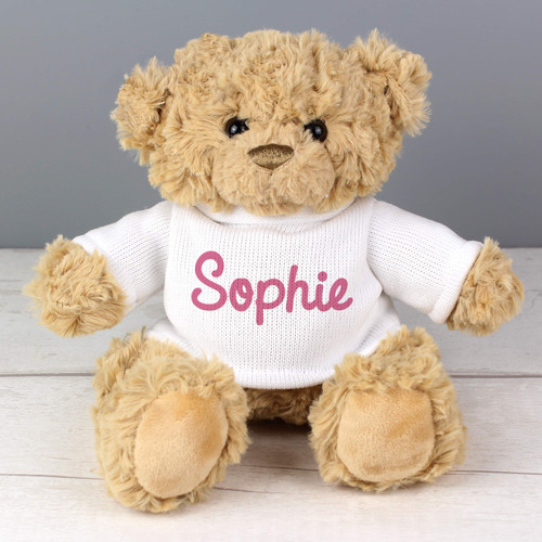Personalised Pink Name Teddy Bear From Something Personal