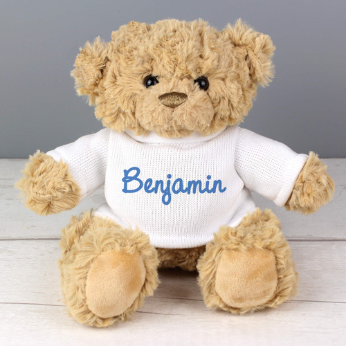 Personalised Blue Name Teddy Bear From Something Personal