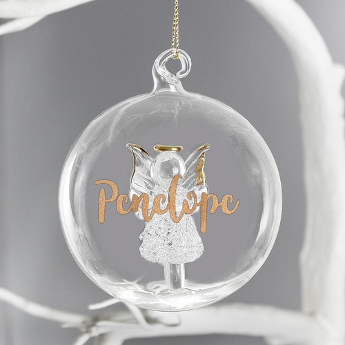Personalised Gold Glitter Name Angel Glass Bauble From Something Personal