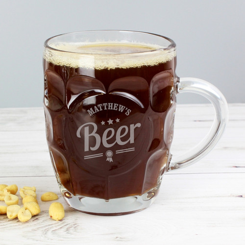 Personalised Beer Label Dimple Tankard Pint Glass From Something Personal