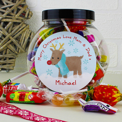 Personalised Felt Stitch Reindeer Sweet Jar From Something Personal